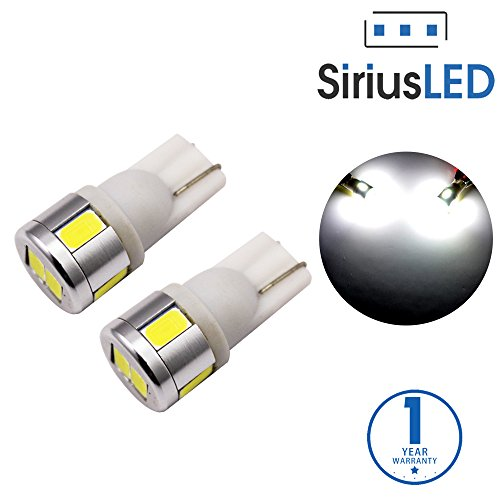SiriusLED Extremely Bright 5730 Chipset 6 SMD LED Bulbs for Car Interior Lights License Plate Dome Map Side Marker Door Courtesy Wedge T10 168 192 194 2825 W5W 6000K Xenon White
