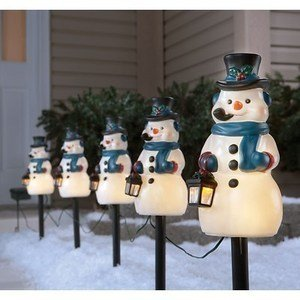 snowman pathway markers with automatic timerprice and reviews solar holiday led stake lightsprice and reviews frosted - Led Christmas Pathway Lights