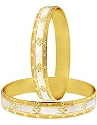 The Jewelbox Wedding Designer 22k Gold Plated Rhodium Metal Chuda Kada Bangle Set Of 2 For Women - B01IQY1B4K