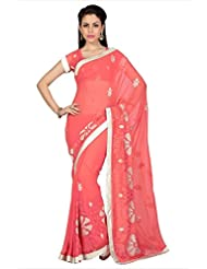 Designersareez Women Peach Faux Georgette Saree With Unstitched Blouse (1663)