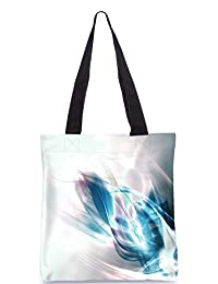 Snoogg Abstract Blue And White Pattern Design Digitally Printed Utility Tote Bag Handbag Made Of Poly Canvas
