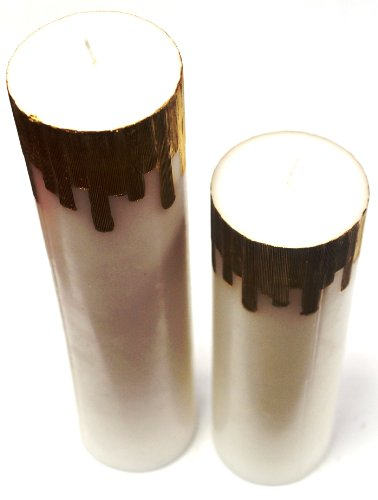 Set Of Two White And Gold Castle Pillar Candles