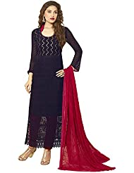 Whatshop New Designer Navy Blue Colour Chiffon Dress Material
