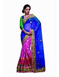 Sareez Pink & Purple Color Net & Chanderi Saree.