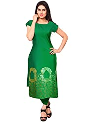 Ahalyaa Green Color Half Sleeve And Boat Neck Festive Fancy Designer Long Kurti