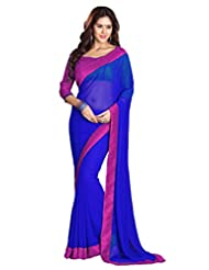Sourbh Sarees Blue And Pink Faux Georgette Must Have Best Sarees For Women Party Wear, Special Karwa Chauth Gifts...