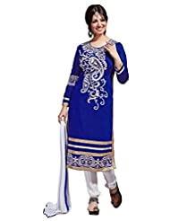 Aarti Lifestyle Women's Chanderi Silk Embroidered Blue Unstitched Salwar Suit