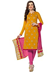 Viva N Diva Women's Clothing Party Wear Low Price Sale Offer Salwar Suit Yellow Color Chanderi Banarasi Embroidered...