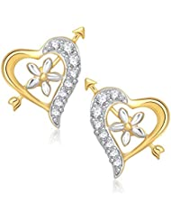 VK Jewels Cupid's Arrow In Heart Gold And Rhodium Plated Stud Earrings For Women -ER1197G [VKER1197G]