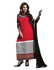Mantra Fashion Red Cotton Fabric Floral Resham Thread Embroidery Work Straight Salwar Kameez