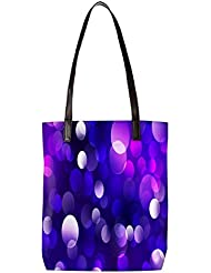 Snoogg Purple Spots Abstract Womens Digitally Printed Utility Tote Bag Handbag Made Of Poly Canvas With Leather...