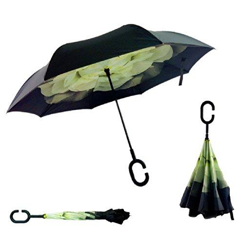 RAIN QUEEN Parapluie Canne Ouverture Inversé Double Toile Imprimé +C Poignée Grand Taille Dimension 110cm pour 2 personnes (Gardénia)