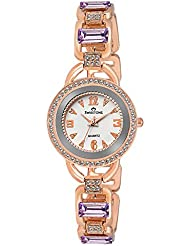 Swisstone GEM93W-LGT-PRPL White Dial Purple Stone Bracelet Wrist Watch For Women/Girls