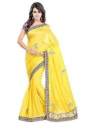 Bano Tradelink Women's Jute Saree(7012, Yellow)