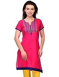 AngelFab Pink Color Cotton Fabric Women's Straight Kurti