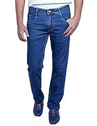 Routeen Dark Blue Charter Cotton Denim Regular Fit Stretch Jeans For Men