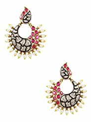 The Art Jewellery Rani Color With Fixed Pearls Chand Shaped Victorian Dangle&Drop Earrings For Women
