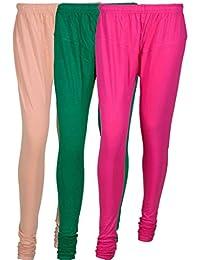 Cotton Leggings (Culture The Dignity Women's Cotton Leggings Combo Of 3_CTDCL_CGM1_CREAM-GREEN-MAGENTA_FREESIZE)