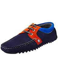CR7 Cristiano Ronaldo Men's Rumba Collar Driving Navy Leather Loafers And Mocassins