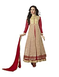 Women's Red & Cream Embroidered Net Semi Stitched Suit