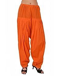 Stylenmart Women Readymade Orange Patiala Pants For Girls