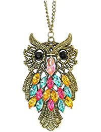 Glitz Fashion Trendy Bronze Multi-Colour Owl Pendant Necklace For Women With Long Chain