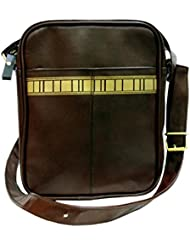 AMoCo Women's Brown Leather Material Sling Bag_MUB0230