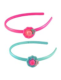 Sarah Cap Hair Band For Girls - Blue And Pink, Pack Of 2