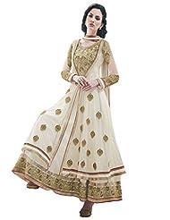 Inddus Exclusive Women Off White & Gold Partywear Anarkali Suit Set