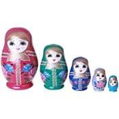 Flada Cute Wooden Nesting Stacking Dolls Paint Russian Matryoshka Kids Toys Christmas Gift A Set Of 5 Pieces - B01DBWYUXQ