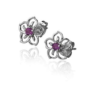 Sterling Silver Amethyst Open Flower Earrings
