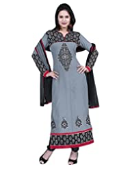 Surat Tex Grey Color Casual Wear Embroidered Pure Georgette Semi-Stitched Salwar Suit