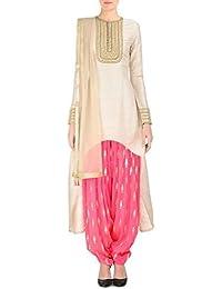 Salwar Suit Women's White Cotton Dress Materials (ok109_white_Free Size)