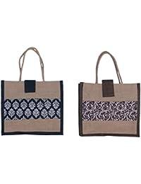 ABV Lunch Bag, Jute Bag, (Black Color)-Pack Of 2 Bags-Designer Printed Bag
