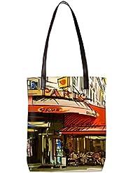 Snoogg Paris Cade Womens Digitally Printed Utility Tote Bag Handbag Made Of Poly Canvas With Leather Handle