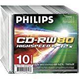 Philips CD-RW 12x 700MB 80 Minute Disc 10-Pack With Slim Jewel Case
