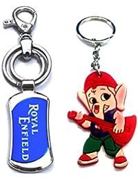 Parrk Blue Royal Enfield Locking Key Chain With FREE Bal Ganesh Key Chain