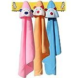 My NewBorn Big Size (36X30 Inches) - Standard Hooded Fleece Baby Blanket Cum Spread -Combo Of 3 Pcs. (Pink-Sky-Beige)
