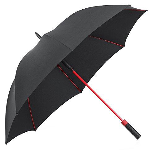 PLEMO Parapluie de Golf Noir avec 8 Baleines Rouge en Fibres de Verre Incassable et Tissu 210T hydrophobe Anti Vent Grand Taille 120cm de Diamètre