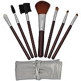 Niceeshop(Tm) 7pcs Brown Professional Cosmetic Makeup Brushes Set Kit With Silver Bag