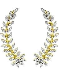 Zeneme Gold Plated American Diamond Leaf Shape Ear Cuff Earring Jewellery For Women / Girls