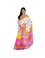 Delightful Yellow Colored Printed Art Silk Saree By Triveni