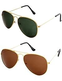 Sheomy Combo Of Golden Brown Aviator And Golden Green Aviator Sunglasses With 2 Box (Sun-055)