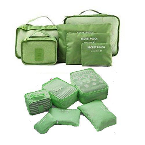 Cubos de viajes conjunto de embalaje de 6 Organizador Bolsas. (Verde)