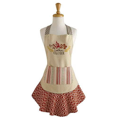 DII 100% Cotton, Machine Washable, Holiday Theme Ruffle Apron, Kitchen Basic, Cooking, Baking, Crafting and More, Family day, Christmas, Thanksgiving Gift - Gather Together