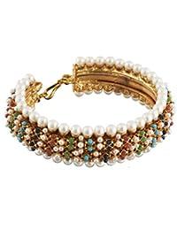 Satyam Jewellery Nx Traditional Multi-Color Pearl Copper Kada For Women