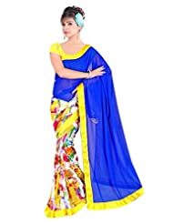 Dancing Girl Blue Yellow Georgette Printed Party Wear Saree With Blouse
