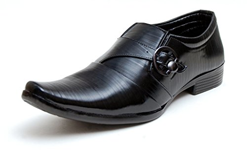 Oora Black With Fine Lining Design & Buckle Slip On Formal Shoes For Men