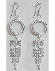 DollsofIndia White Stone Studded Jhalar Earring - Stone And Metal - Silver Color, White - B00K4F64A6