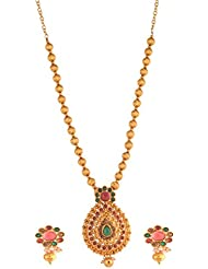 Ganapathy Gems Gold Plated Traditional Necklace Set With Pink And Green Stone... 10580